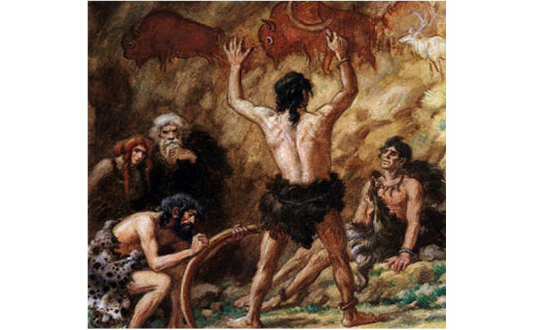 Cro-Magnon man communicating with each other and producing cave drawings