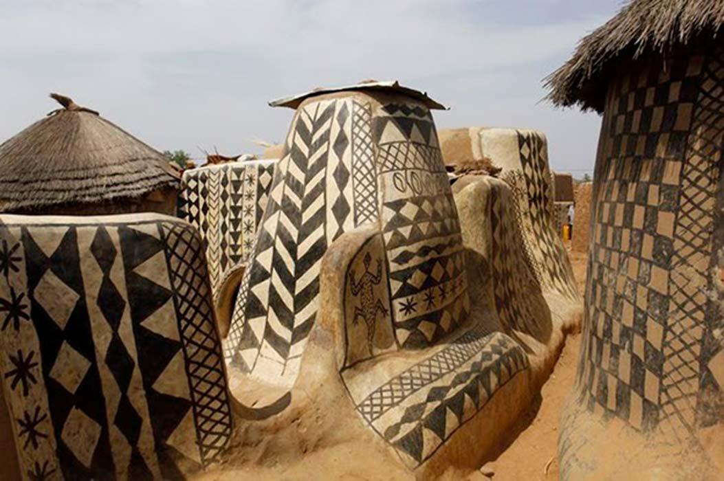A view inside the painted village of Tiébélé in Burkina Faso.