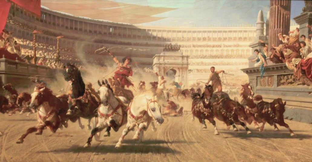 The Chariot race. Cynisca was a Spartan princess and the first women to win the chariot race in the ancient Olympic Games.