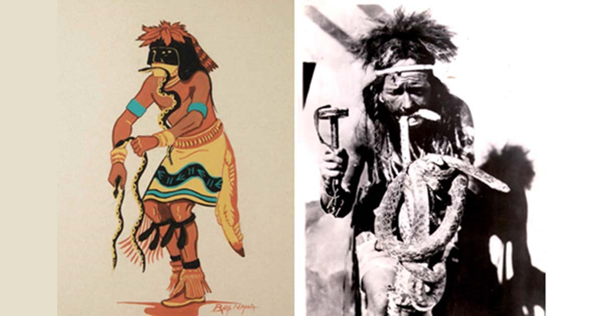 Left:  Hopi snake dancer ( adobegallery) Right: A Hopi male during the annual snake dance and ritual prayers for rain, 1946 (public domain)