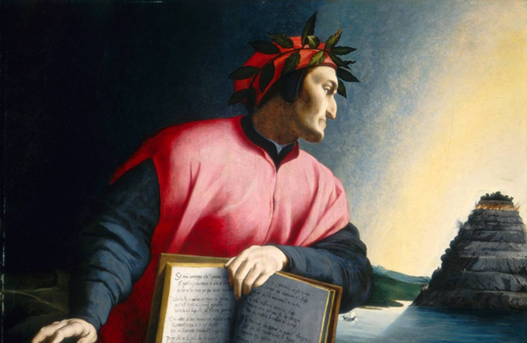 Dante holding open a copy of the Divine Comedy while gazing towards Mount Purgatory (1530), Agnolo Bronzino