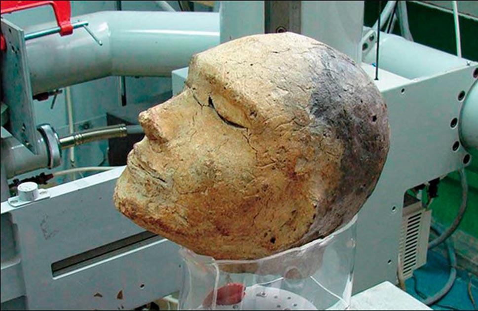 The death mask found in Shestakovsky burial mound No 6.Source: Vyacheslav Porosev, Instutute of Nuclear Physics, SB RAS