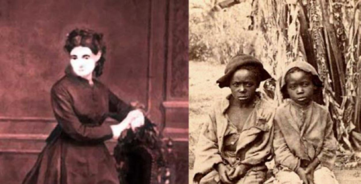 Delphine LaLaurie (Public Domain) and children of slaves in the American South. (Okinawa Soba (Rob)/CC BY NC SA 2.0)