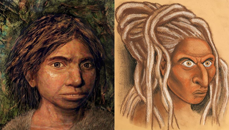 The reconstructed face of a Siberian Denisovan (right) alongside the Hebrew University's own representation of a Sunda Denisovan (left).            Source: Left © Hernandez/Cartwright/Collins; b) © Maayan-Harel)