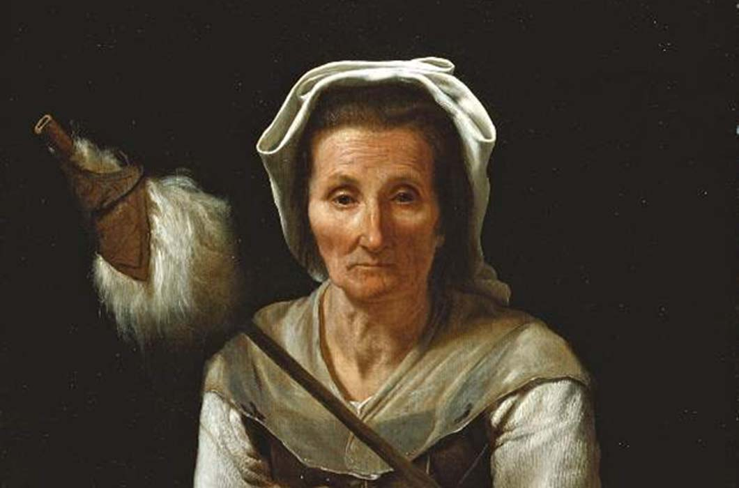 "Detail of ""An Old Woman Spinning"" (1646-1648) by Michiel Sweerts."