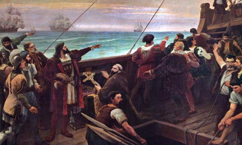 Discovery of Brazil. Pedro Alvares Cabral sees the land that would later be known as Brazil for the first time