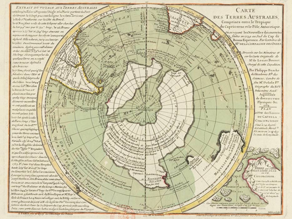 Does the Buache Map show Antarctica without ice?