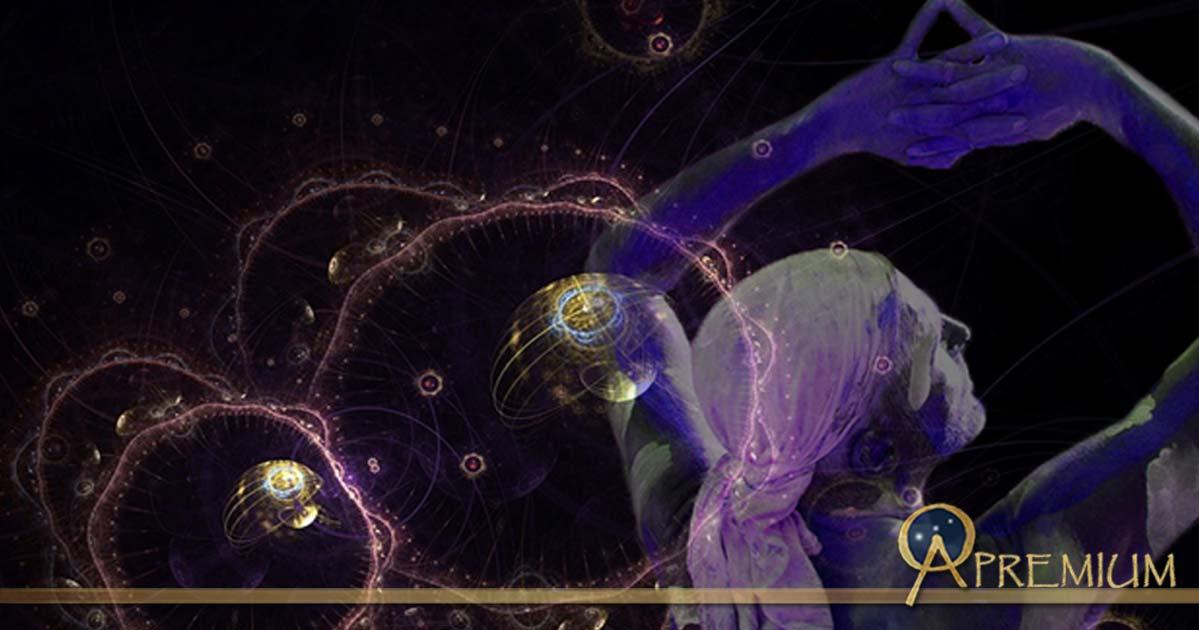 Artistic rendering of Quantum Particles, man performing as a shaman (Public Domain); Deriv.