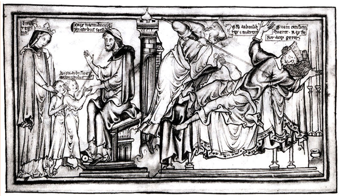 Edmund killing Sweyn by Matthew Paris, 13th century (Cambridge University Library MS Ee.3.59 p. 4)