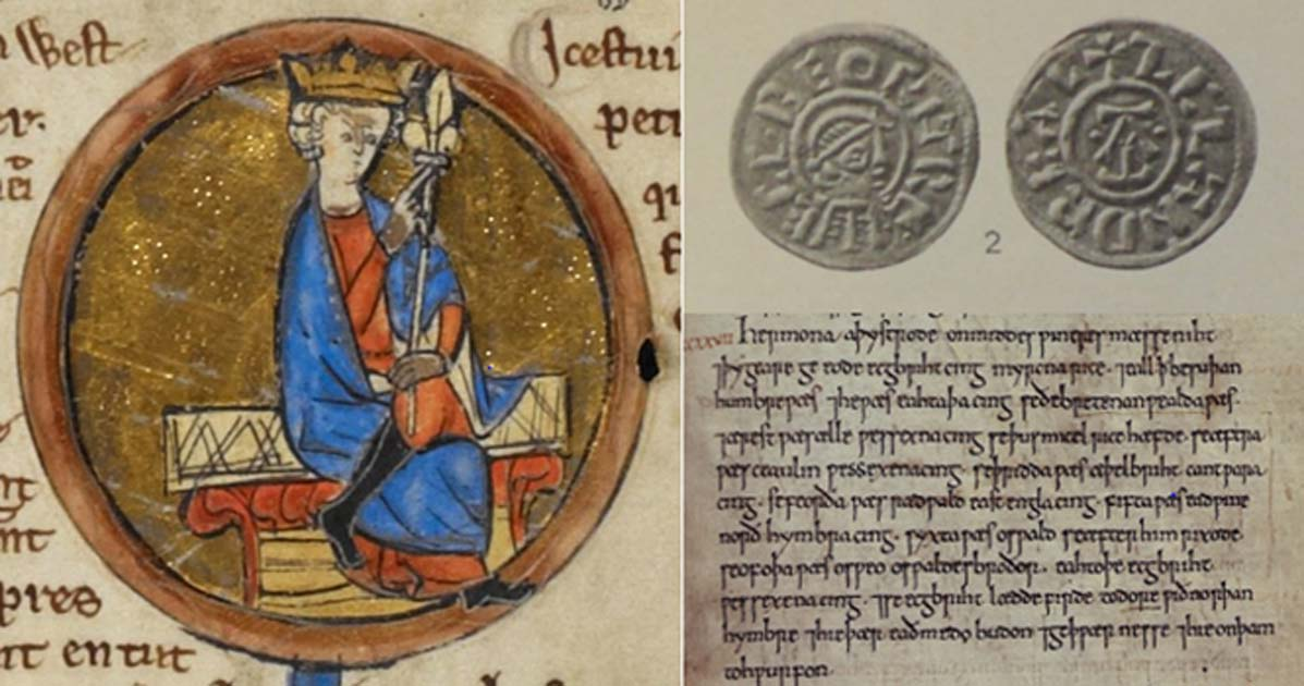 On Left - Miniature of Egbert, first king of England. On Right Top - Coin of King Egbert of Wessex. On Right Bottom - The entry for 827 in the C manuscript of the Anglo-Saxon Chronicle listing the territories he brought together to unite England.  Source: Left, Public Domain; Right Top, Public Domain; Right Bottom, Public Domain.