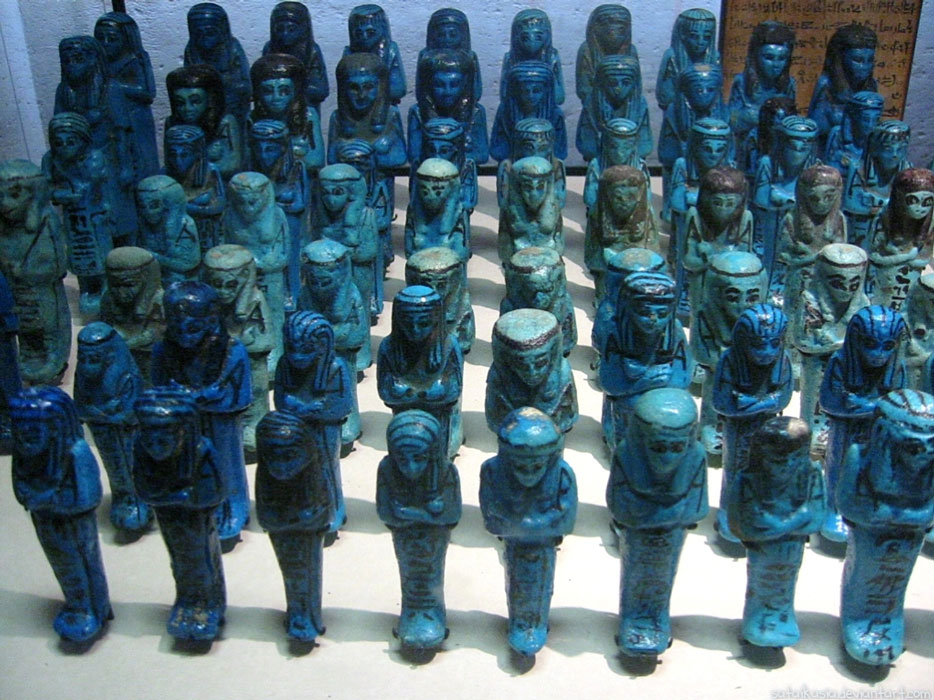 Egyptian blue shabti figures on display in the Egyptian exhibit at the Louvre in France in 2006.