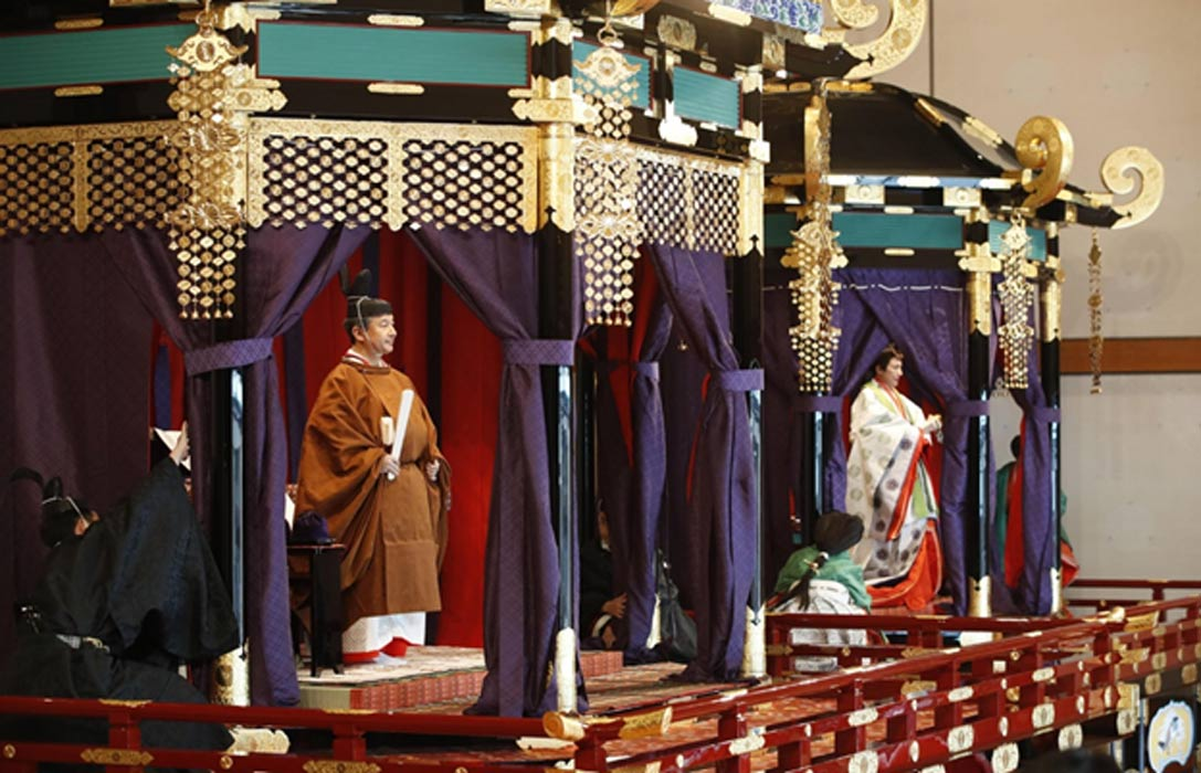 Emperor Naruhito and Empress Masako at the emperor's ceremony of enthronement to the Chrysanthemum Throne.