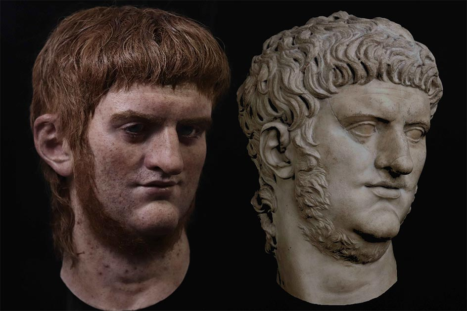 Hyper realistic reconstruction of Emperor Nero from bust. Photo courtesy of artist Salva Ruano, All Rights Reserved. https://cesaresderoma.com/