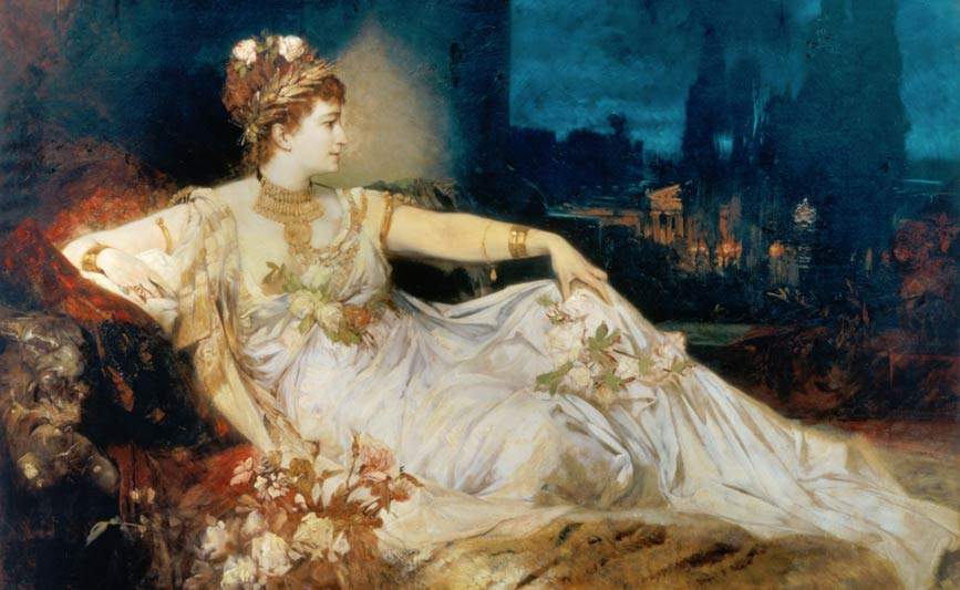 Hans Makart's painting of Charlotte Wolter in Adolf Wilbrandt's tragedy, Arria und Messalina.