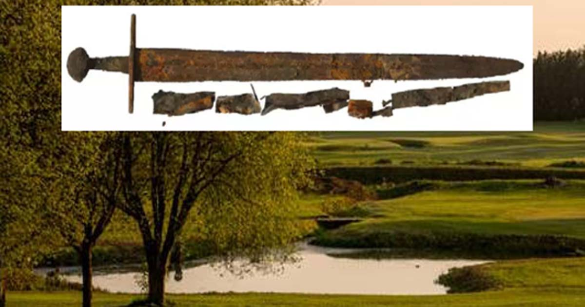 Main: The Fornham All Saints golf course. Inset: The newly-discovered Medieval sword.