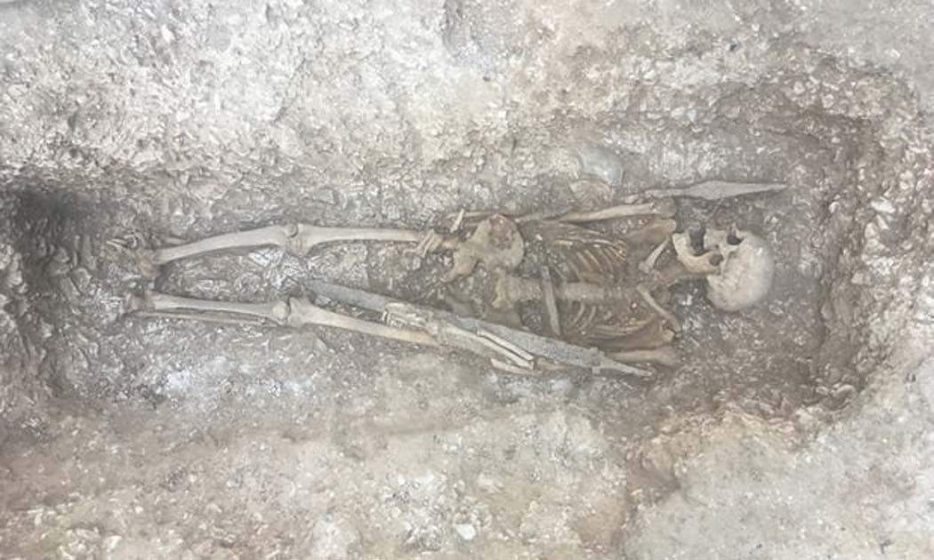 This 6th-century Saxon warrior with spear and sword, was found underneath a military trackway, frequently crossed by tanks and huge military vehicles.