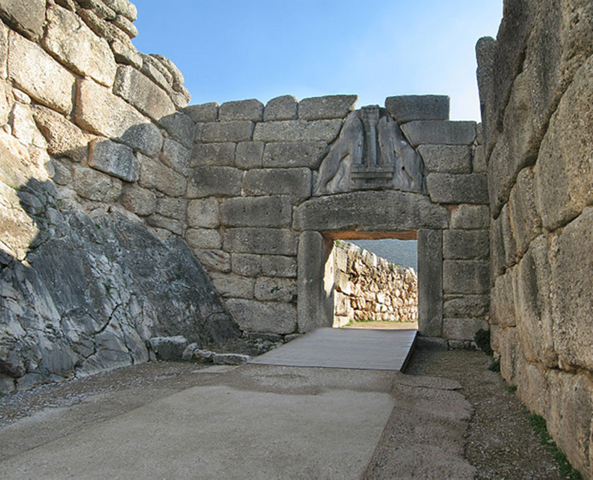 The Lion Gate at Mycenae.