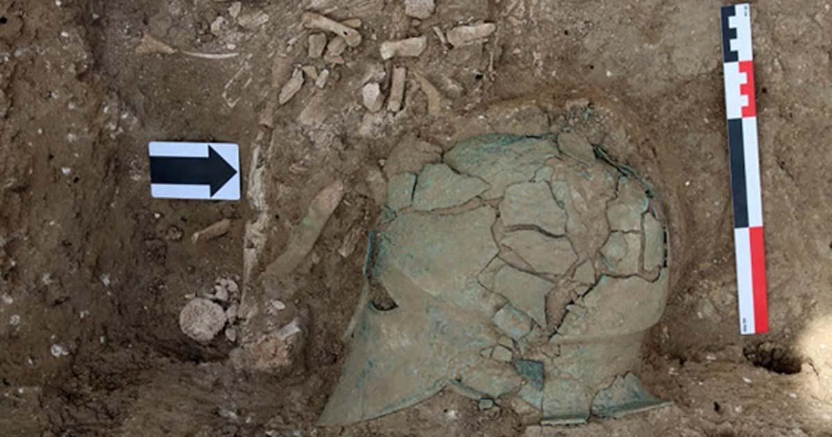 Bronze Corinthian helmet found in 5thcentury BC burial mound in, Taman Peninsula, Russia.