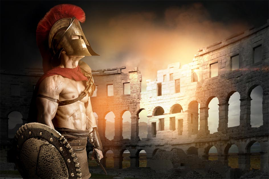 Ancient gladiator and image representative of the Flavian amphitheater        Source: Luis Louro/ Adobe Stock