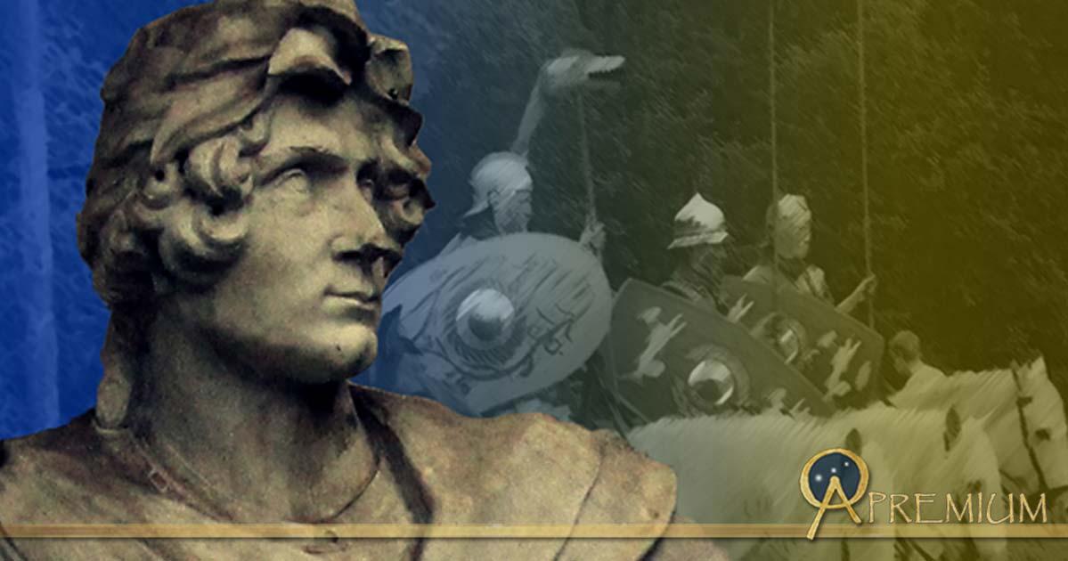 Statue of Roman Soldier (Public Domain), and Roman Cavalry Reenactment  (CodrinB/CC BY-SA 3.0); Deriv.