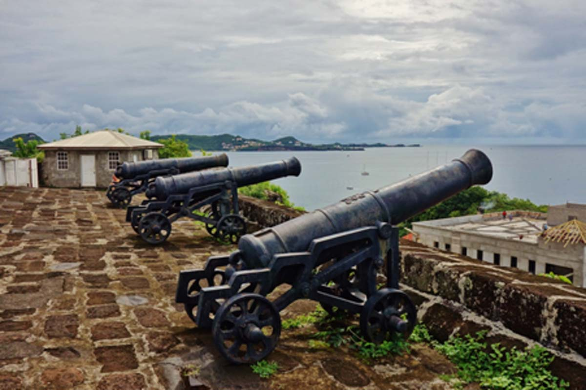 Fort George with artillery cannons overlooking St. George's   Source: Eqroy / Adobe Stock