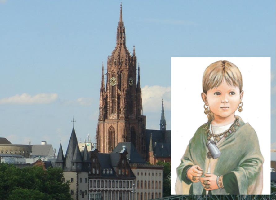 Main: The west tower of the Frankfurt Imperial Cathedral, under which were interred two Medieval children, one with a Christian burial the other a pagan burial.