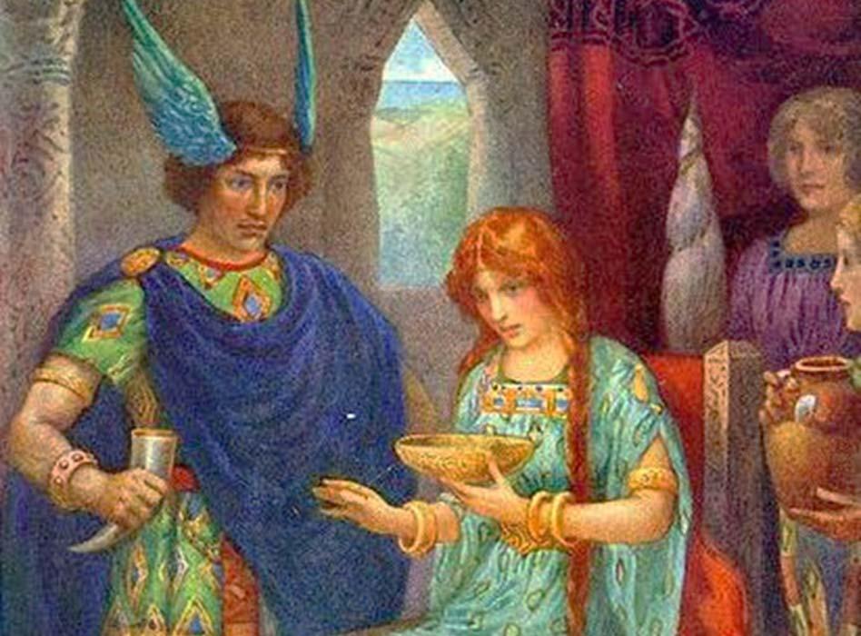 Skyrnir and Gerda - Illustration by Harry George Theaker (1920).