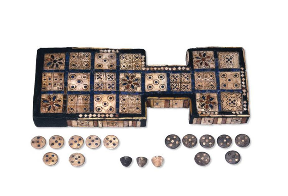 The Royal Game of Ur board (or Game of Twenty Squares), found in the Royal Tombs of Ur in Mesopotamia, dating c. 2600-2400 B.C. Source: The Trustees of British Museum / Provided by the author