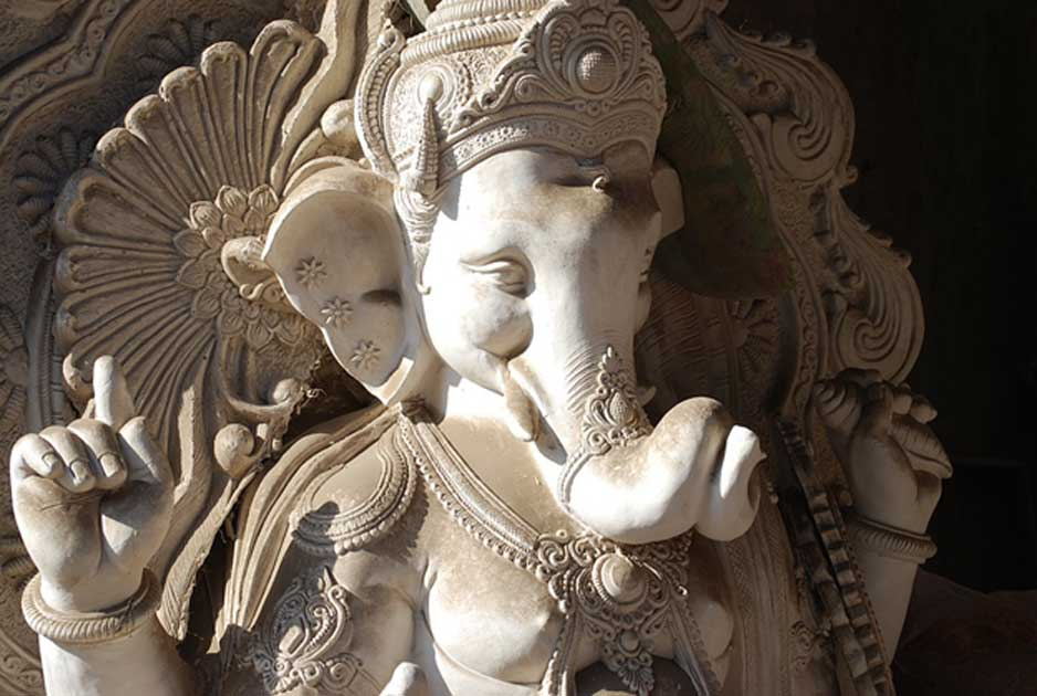Detail of a statue of Ganesha.