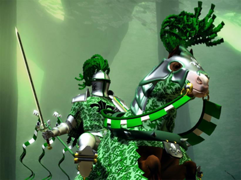 Representation of the Green Knight from the Gawain poem.  Source: Luca Oleastri / Adobe stock