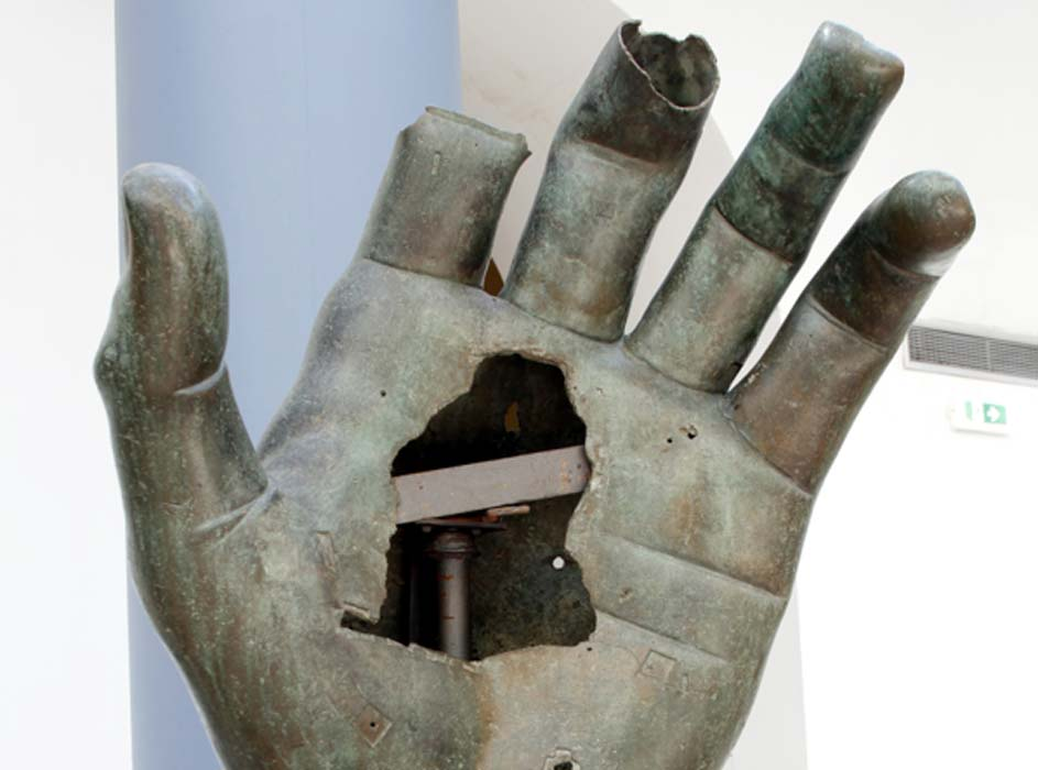 The hand missing its index finger from a monumental bronze statue of Constantine.
