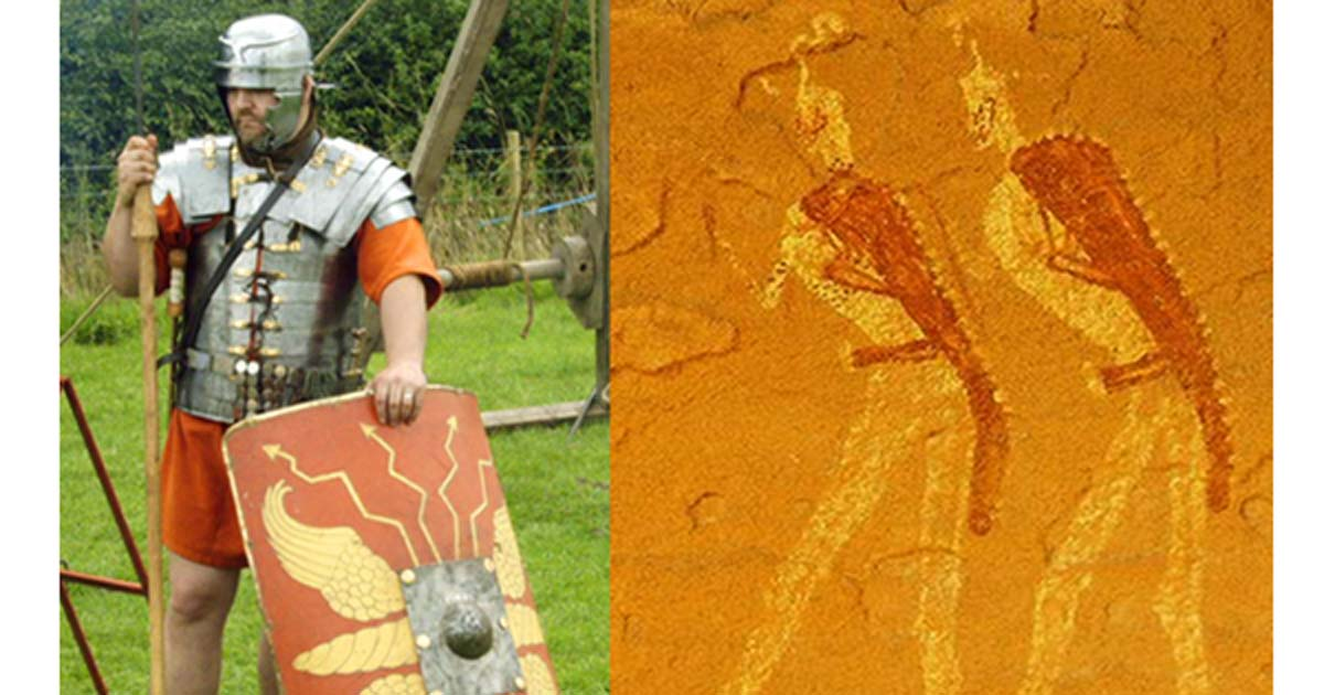 Deriv; Left, Roman legionnaire reenactor in period gear. Right, Jabbaren rock painting (Via author)