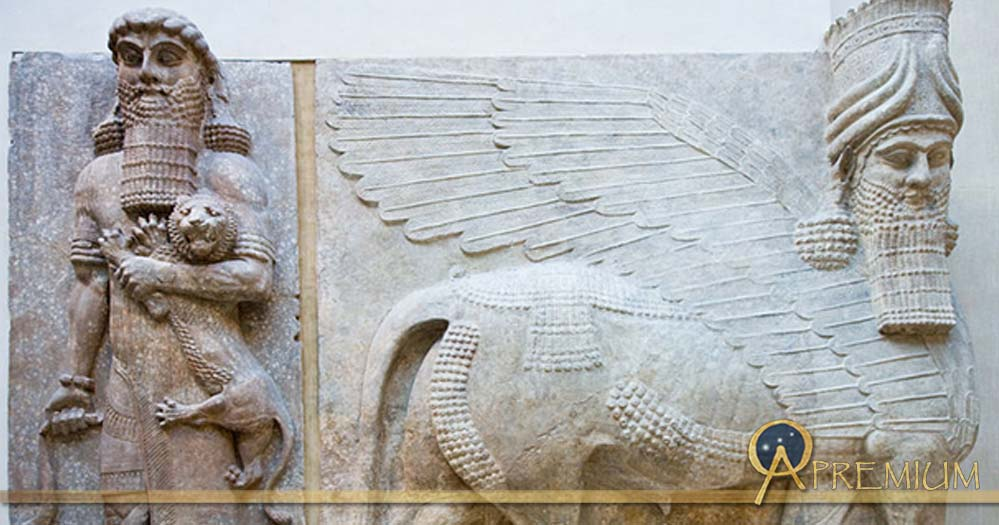 Louvre Museum, Department of Near Eastern Antiquities: Gilgamesh and Lion, Human headed winged bull, Assyria.