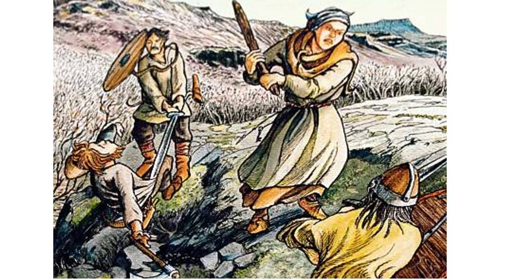 From the Gisla Saga: When Eyjólfur and his men attacked Gísli in overwhelming numbers, Gísli's wife Auður stood by his side, armed with a club.