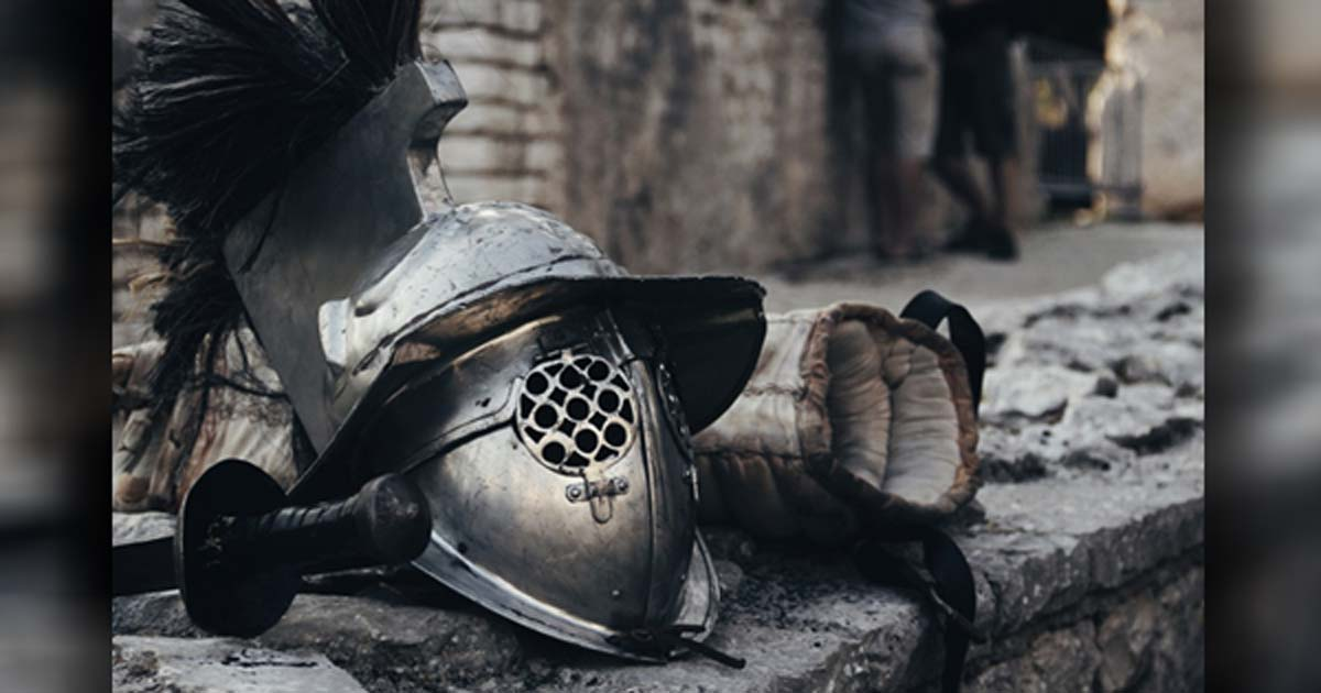 The helmet of a gladiator