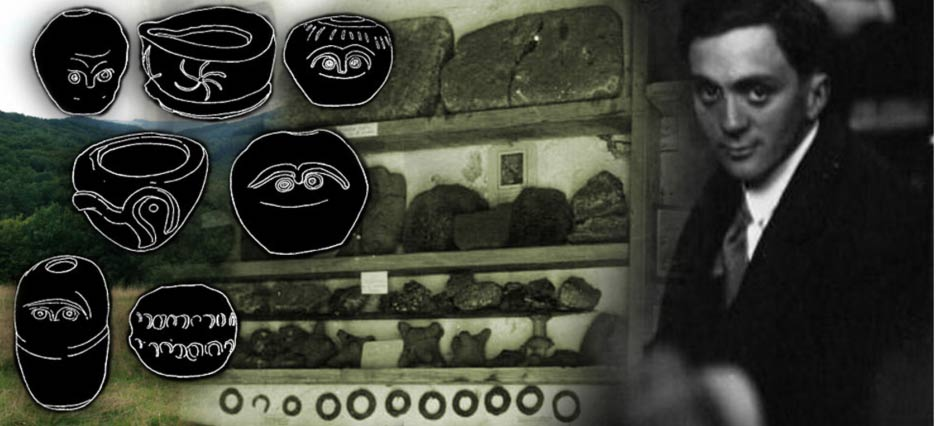 Emile Fradin and the artifacts found at Glozel, with sketches of pottery