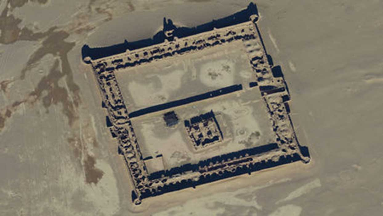 A satellite image shows a 17th century caravanserai (outpost) which served people traveling the Silk Road.