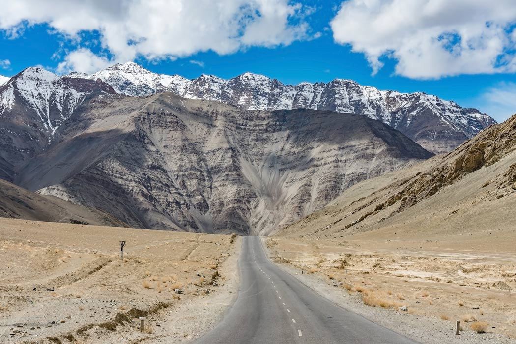 A gravity hill located near Leh in Ladakh, India.