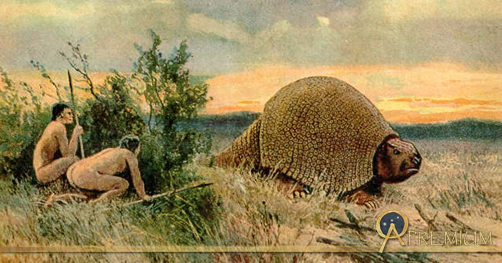 Illustration of Paleo-Indians hunting a glyptodont by Heinrich Harder (1858-1935)