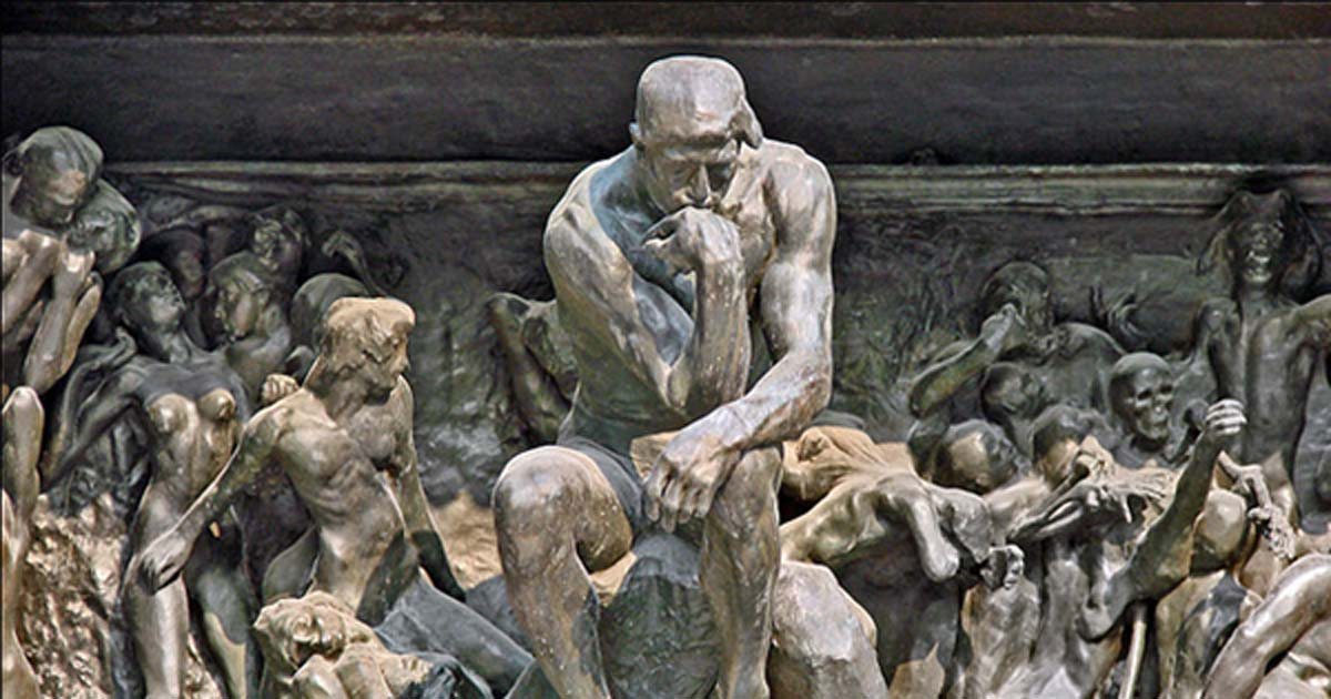The Thinker in The Gates of Hell at the Musée Rodin.