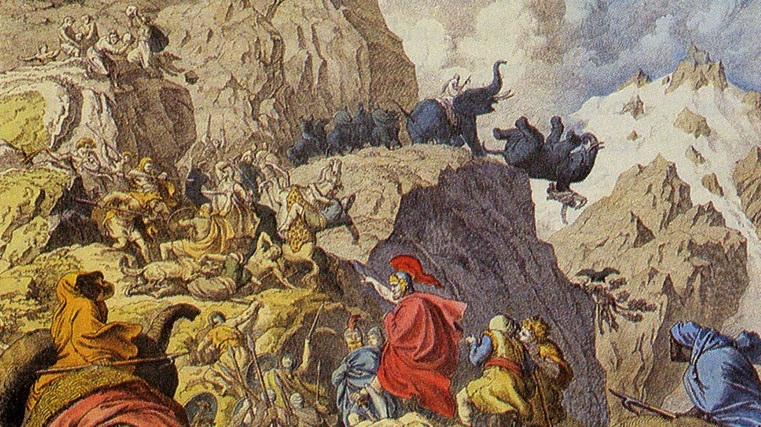 Hannibal's Famous Crossing of the Alps with War Elephants