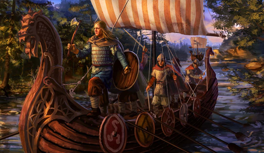 Vikings on a ship.