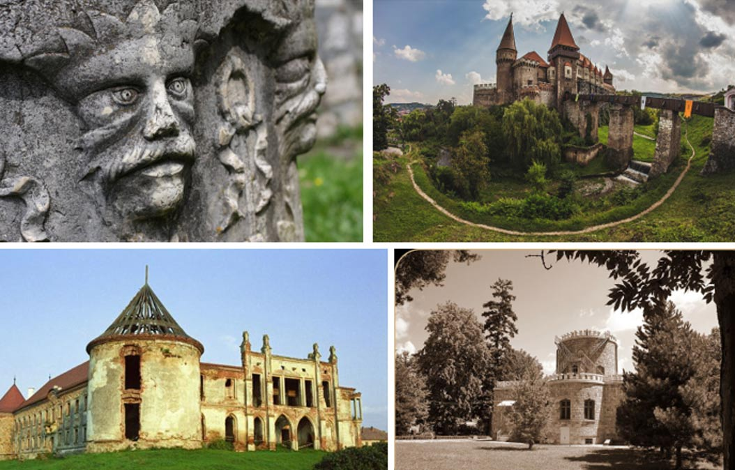 (Clockwise from top left): Sculpture at Bran Castle. Hunyadi Castle. Lulia Hasdeu Castle. Banffy Castle.