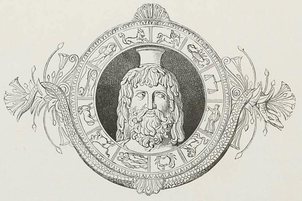 Head of Serapis with zodiac
