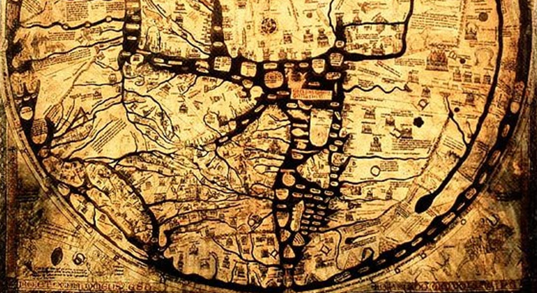Hereford mappa mundi legendary cities monstrous races and curious detail the medieval hereford mappa mundi cloth of the world in hereford gumiabroncs Gallery