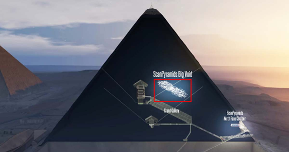 New research looking at the density of particles called muons has found an empty space (shown in this illustration) more than 98 feet (30 meters) long right above the pyramid's Grand Gallery.