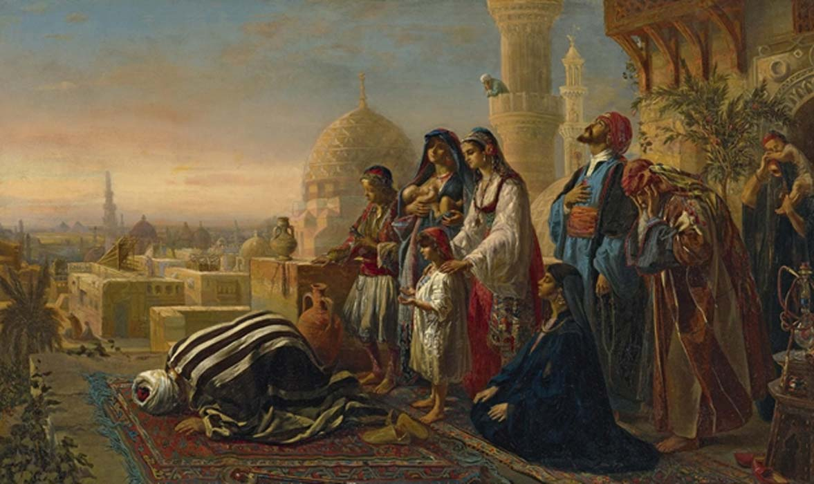 9th century painting of Jean Baptist Huysmans showing an Islamic Egyptian family during an evening prayer.