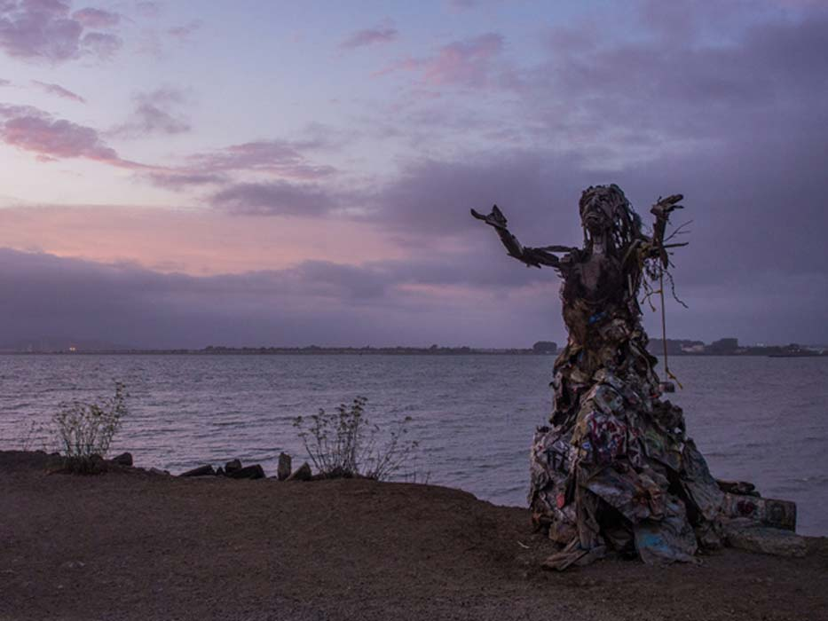 Albany Bulb Sea Witch Prays to the Pink and Purple Sky.