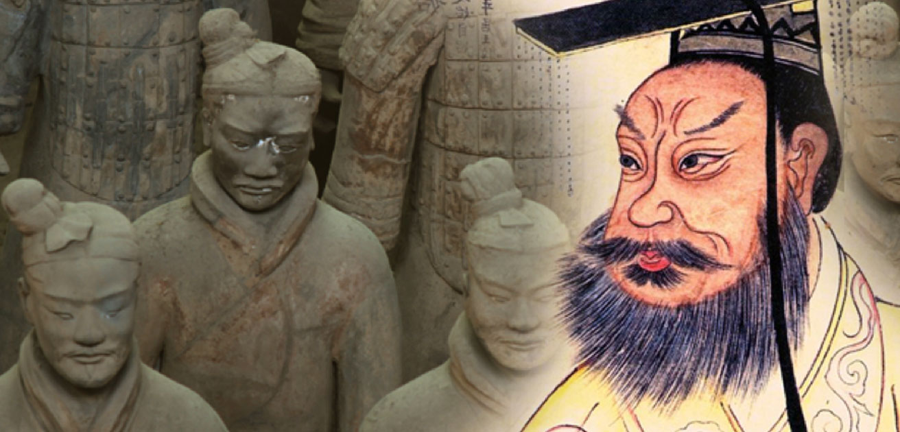 Terra Cotta Soldiers (CC BY 2.0), and Qin Shi Huang in a 19th century portrait (Public Domain);Deriv.