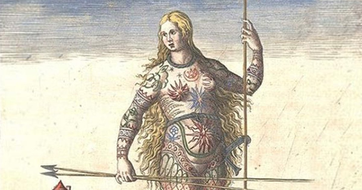 """""""The Painted Ones"""" hand-colored version of Theodor de Bry's engraving of a Pict woman who is either painted or tattooed."""
